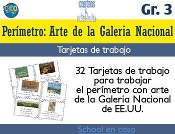 Spanish Perimeter Task Cards: National Gallery | Tarjetas de trabajo: perimetro