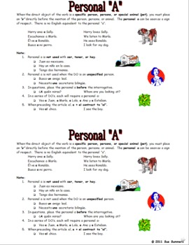 Spanish Personal A Fill In the Blank, 15 Translations, and Reference
