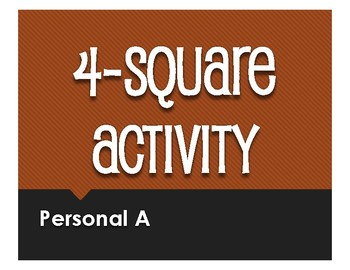 Spanish Personal A Four Square Activity