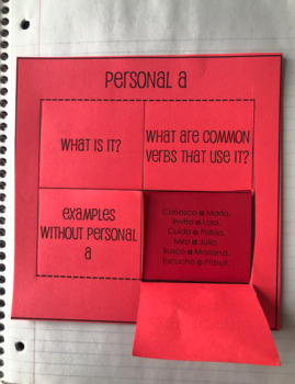 Spanish Personal A Interactive Notebook