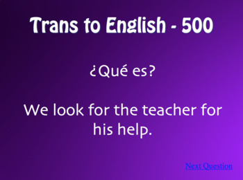 Spanish Personal A Jeopardy-Style Review Game