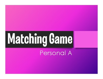Spanish Personal A Matching Game