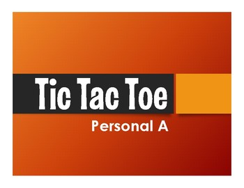Spanish Personal A Tic Tac Toe Partner Game