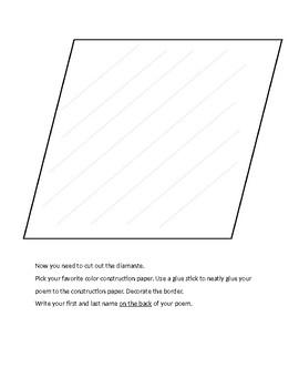 Spanish Personal Description Poem Mini-Project/Poema en Diamante