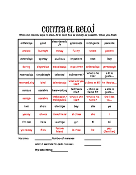 Spanish Personal Descriptions Against the Clock