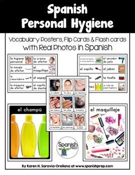 Spanish Personal Hygiene Vocabulary Posters & Flashcards with Real Photos