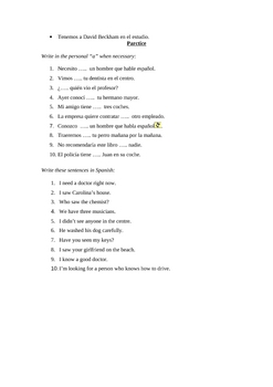 """Spanish Personal """"a"""" Explantion and Practice"""