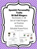Spanish Personality Traits Vocabulary- Realidades 1- 1B Se