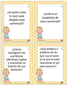 Persuación -Spanish Persuasion Media Texts Author's Purpose Cards with Questions