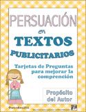 Spanish Persuasion Media Texts Author's Purpose Cards with