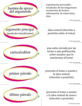 Spanish Persuasive Academic Vocabulary for Reading and Writing
