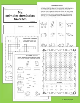 Spanish Pets activities, worksheets and games