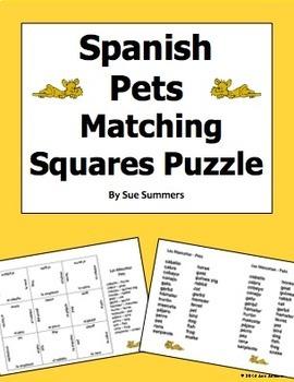 Spanish Animals / Pets Matching Squares Puzzle 3 x 3 - Las Mascotas