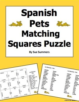 Spanish Animals / Pets Matching Squares Puzzle 3 x 3 - Las