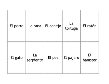 Spanish Pets Memory Game Cards
