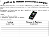 Spanish Phone Number Speaking Activity - ¿Cuál es tu númer