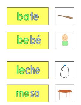 Spanish Phonics 2 syllable e word cards