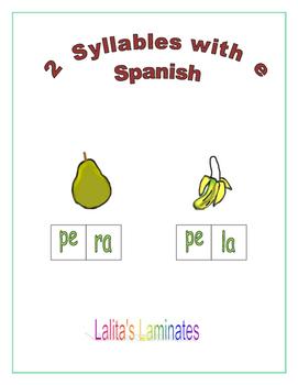 Spanish Phonics 2 syllable e words