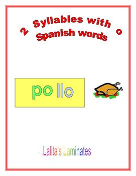 Spanish Phonics 2 syllable o word cards