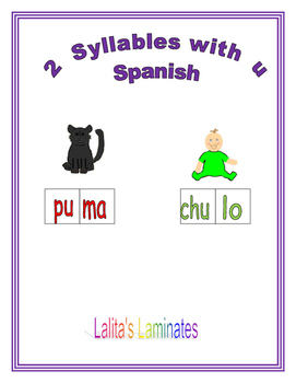 Spanish Phonics 2 syllables u words