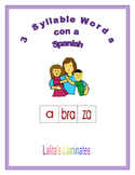 Spanish Phonics 3 syllable a words