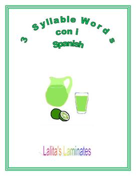 Spanish Phonics 3 syllables i words