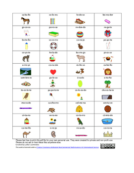 Spanish Phonics 3 syllables o words