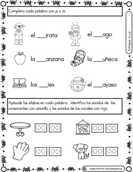 Spanish Phonics Book Set #2: Letras m & p