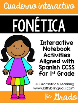 Spanish Phonics Interactive Notebook 1st Grade - Cuaderno interactivo fonética