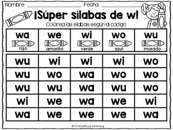 Spanish Phonics Practice for wa, we, wi, wo, wu - Sílabas de w