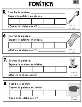 Spanish Phonics Pre-Assessment