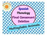 Spanish Phonology: Final Consonant Deletion - Animal Carib