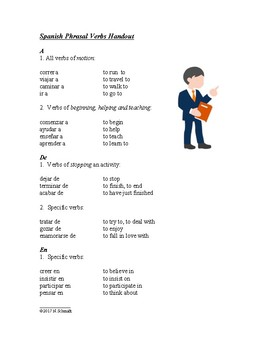 Spanish Verbs that Carry a Prepositions: Handout and Worksheet