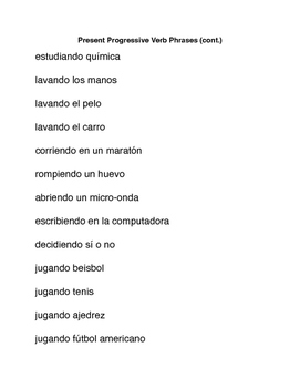 Spanish Phrase Lists for  Games of Pictionary and  Charades