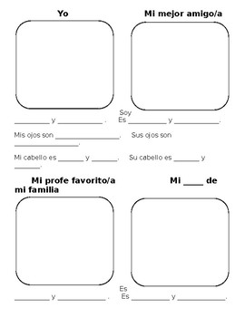 Spanish Physical Description Portrait Worksheet | Ojos y Cabello