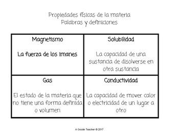 Spanish Physical Properties of Matter Bingo
