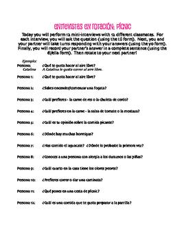 Spanish Picnic Rotating Interviews