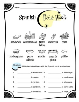 Spanish Picnic Words Worksheet Packet