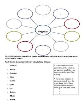 Spanish: Pictionary Game worksheet