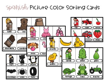 Spanish Picture Color Sorting Cards