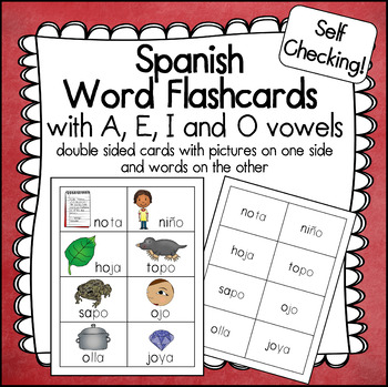 Spanish Picture Word Cards with A, E, I, and O - Palabras con A, E, I, O