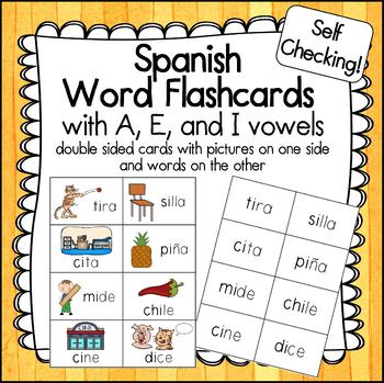 Spanish Picture Word Cards with A, E, and I - Palabras con A, E, I