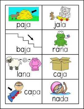 Spanish Picture Word Cards with A vowels - Palabras con A