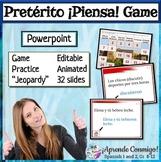 Spanish Piensa Jeopardy style question answer game editabl