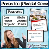 Piensa Preterite Question/Answer game editable PowerPoint