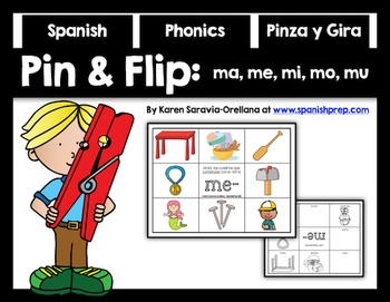 Spanish Pin and Flip Phonics: ma, me, mi, mo, mu
