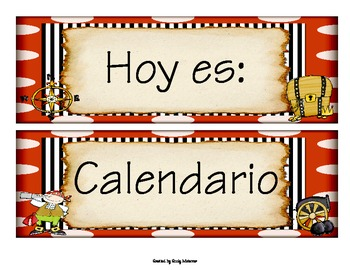 Spanish Pirate Themed Calendar, Months, and Days of the Week Headers
