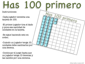 Spanish:Place Value Game: Make 100 by Regrouping Ones and Tens