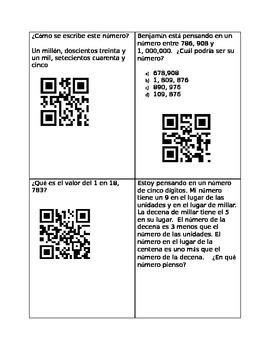 Spanish Place Value QR Codes Station