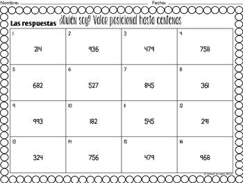 Spanish Place Value Task Cards to Hundreds | Valor posicional a centenas